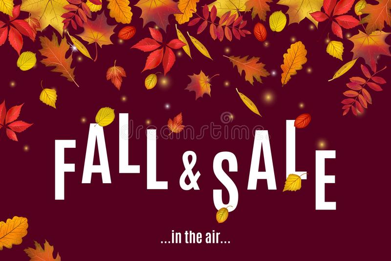 Fall and sale are in the air banner template vector illustration