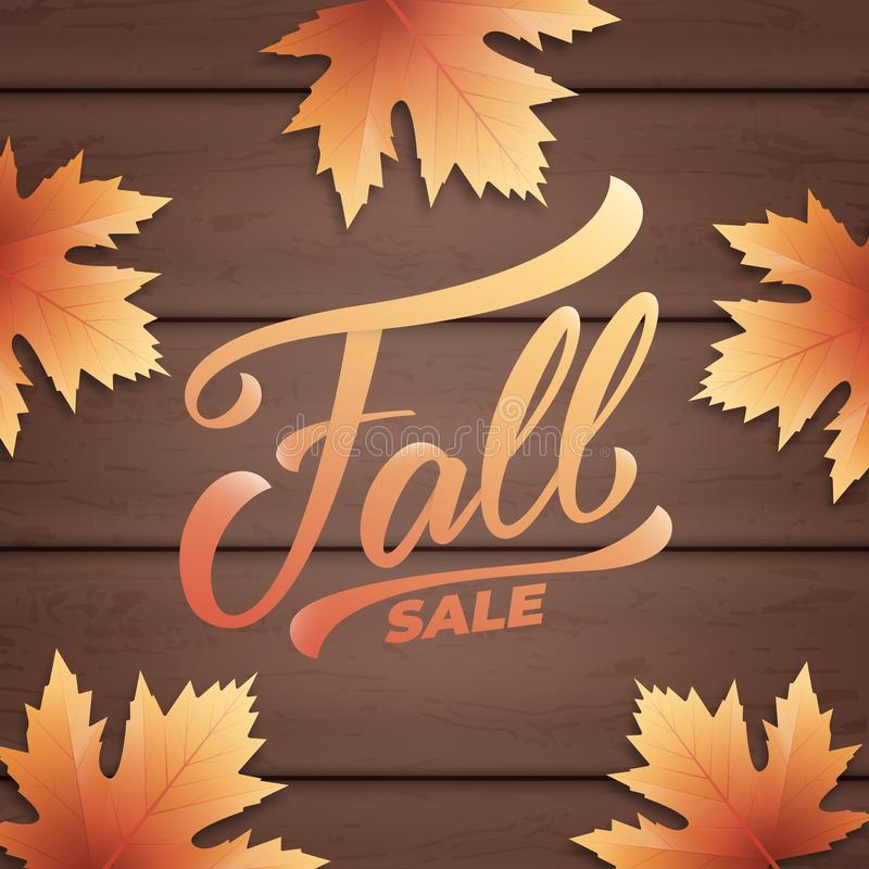 Fall sale. Autumn layout design with wooden background and fall leves. Fall sale, promotion, banner.  royalty free illustration