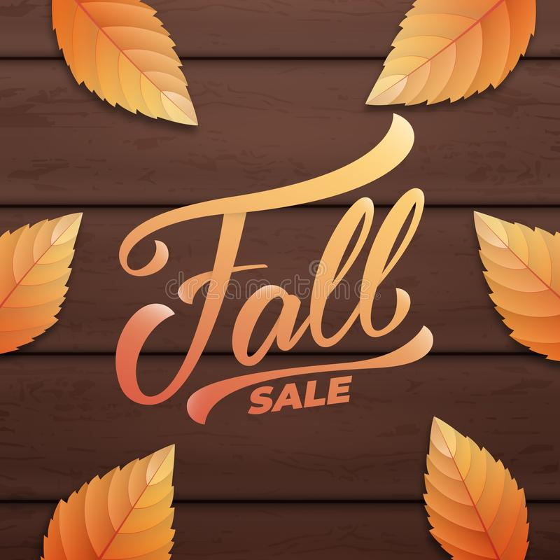 Fall sale. Autumn layout design with wooden background and fall leves. Fall sale, promotion, banner.  vector illustration