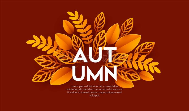 Fall sale background design with colorful paper cut autumn leaves. Vector illustration. EPS10 stock illustration