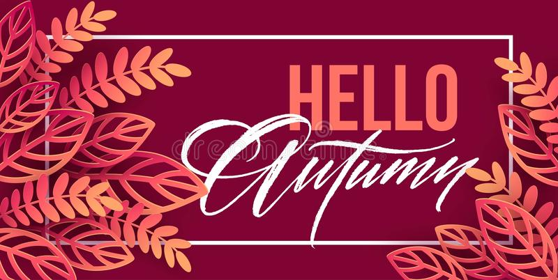 Fall sale background design with colorful paper cut autumn leaves. Vector illustration royalty free illustration