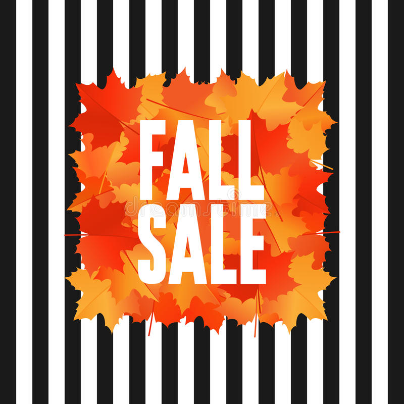 Fall sale banner with falling maple leaves. Fall sale banner with maple leaves. Autumn background. Poster for advertising royalty free illustration