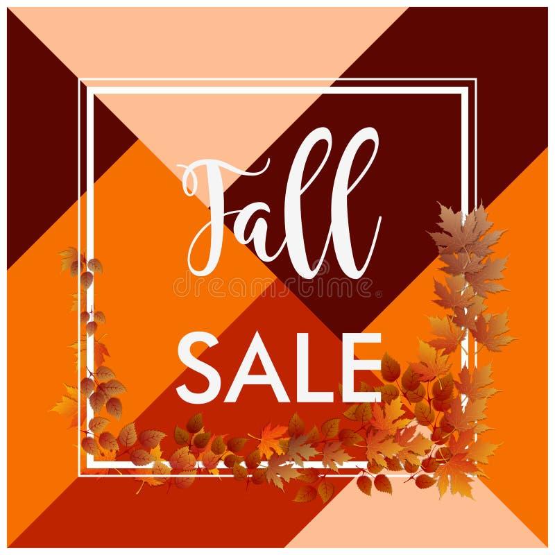 Fall sale banner square border brown leaves. Fall sale banner square border and brown leaves vector illustration