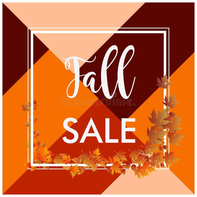 Fall sale banner square border brown leaves. Fall sale banner square border and brown leaves stock illustration
