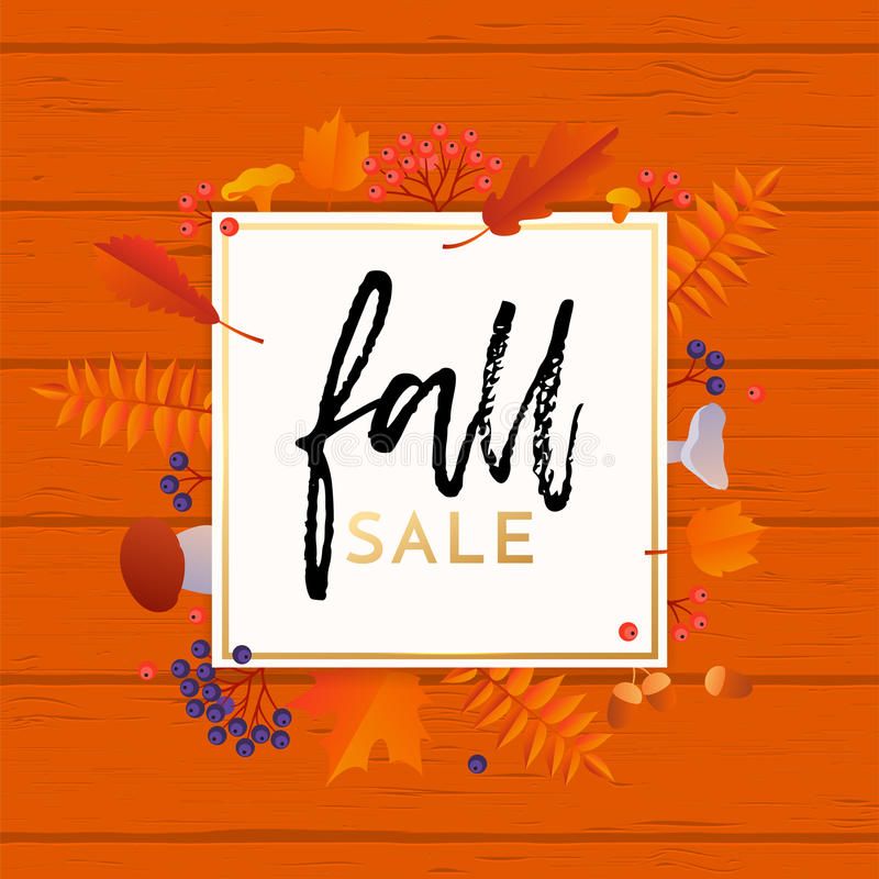 Fall sale poster banner vector leaf pattern background for autumn shopping. Fall sale banner or poster background with abstract autumnal maple, oak and rowan vector illustration