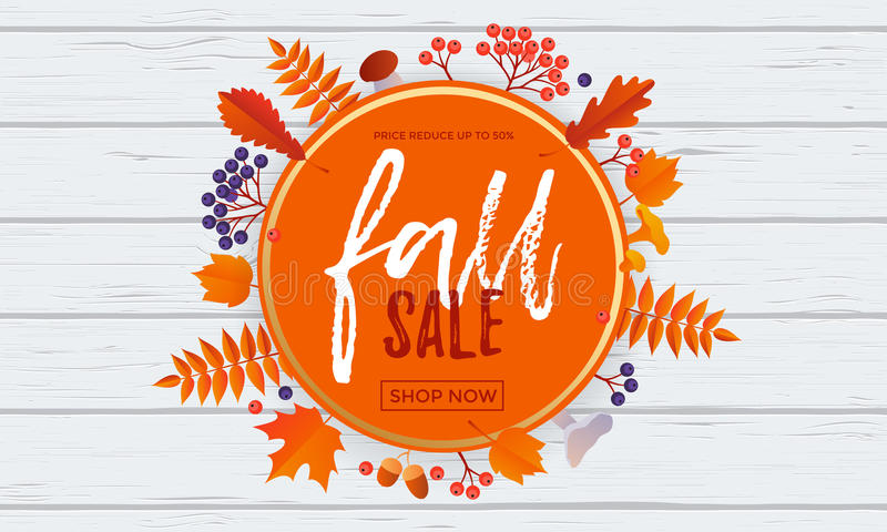 Fall sale poster banner vector leaf pattern background for autumn shopping stock illustration