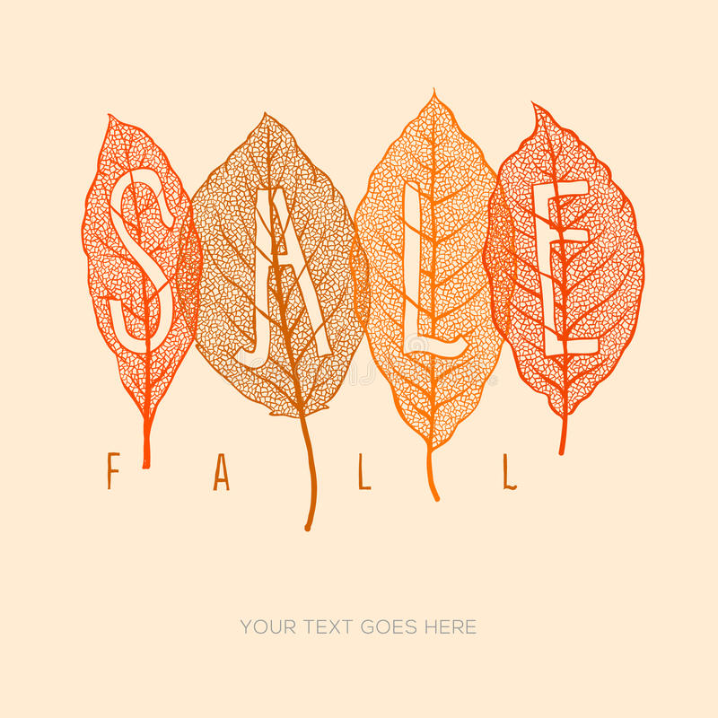 Fall sale poster with dried leaves and simple text. Eps10 illustration stock illustration