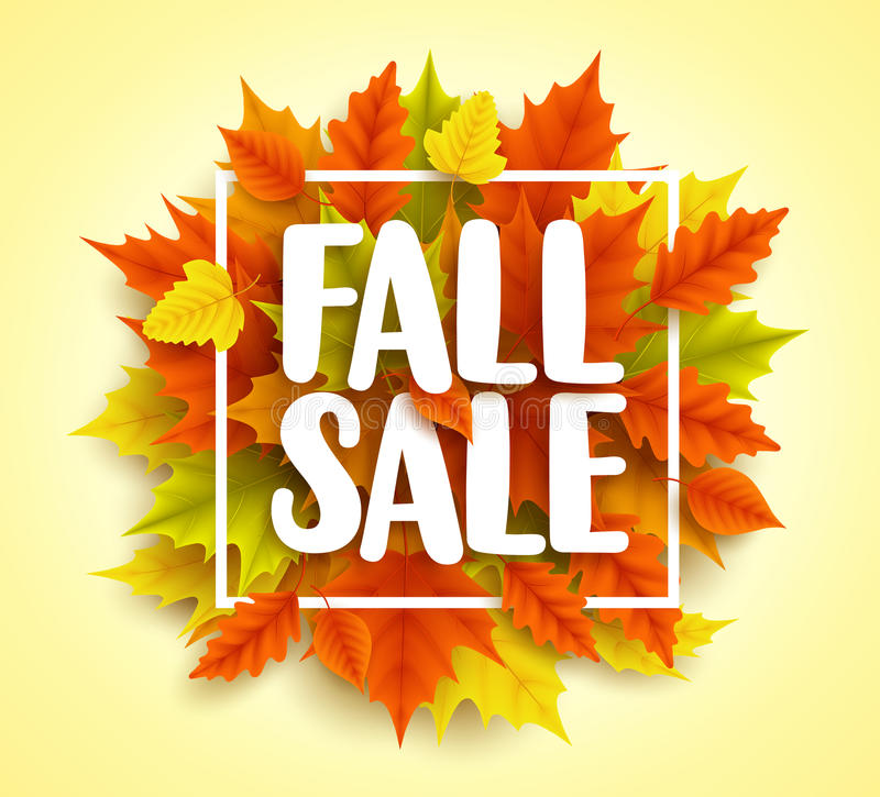 Fall sale text vector banner with colorful 3D realistic autumn maple leaves vector illustration