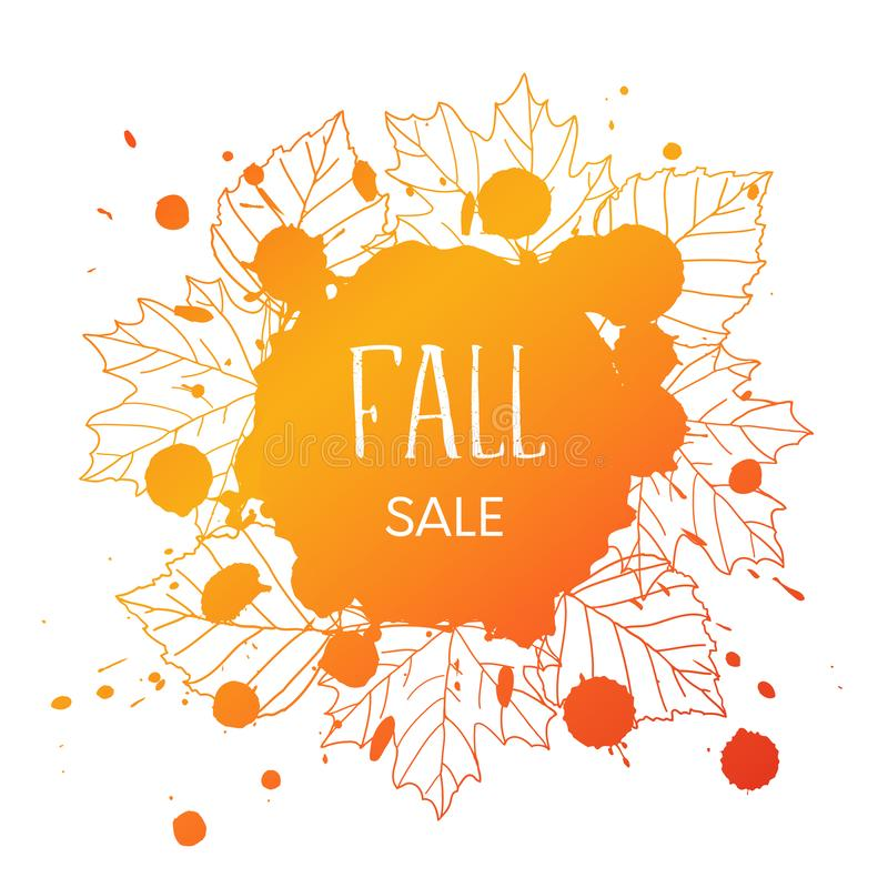 Fall sale. Vector grunge background with orand hand drawn outline leaves and blobs and text royalty free illustration