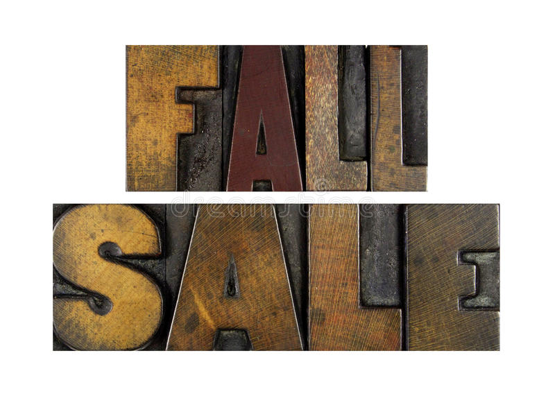 Fall Sale. The words FALL SALE written in vintage letterpress type stock images