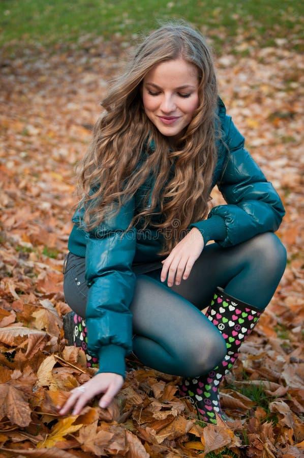 Fall scene - happy woman stock photo