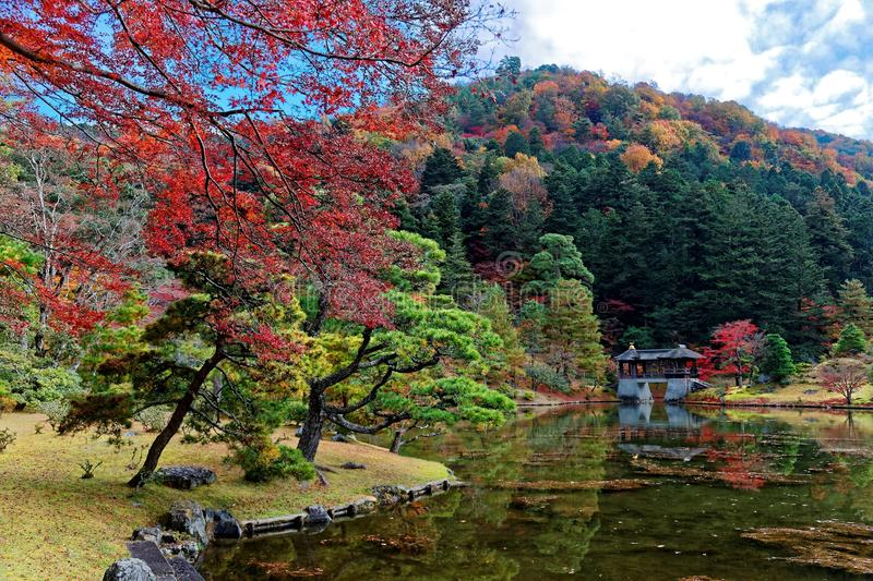 Fall scenery of a beautiful Japanese garden in Shugakuin Imperial Villa Royal Park stock image