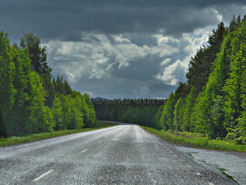 Fall scenic road in Sweden stock photography