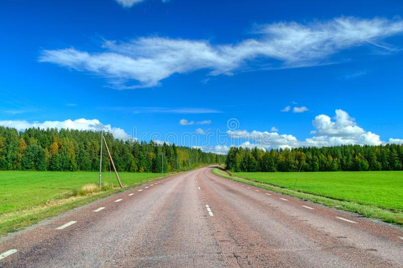 Fall scenic road in Sweden royalty free stock photography