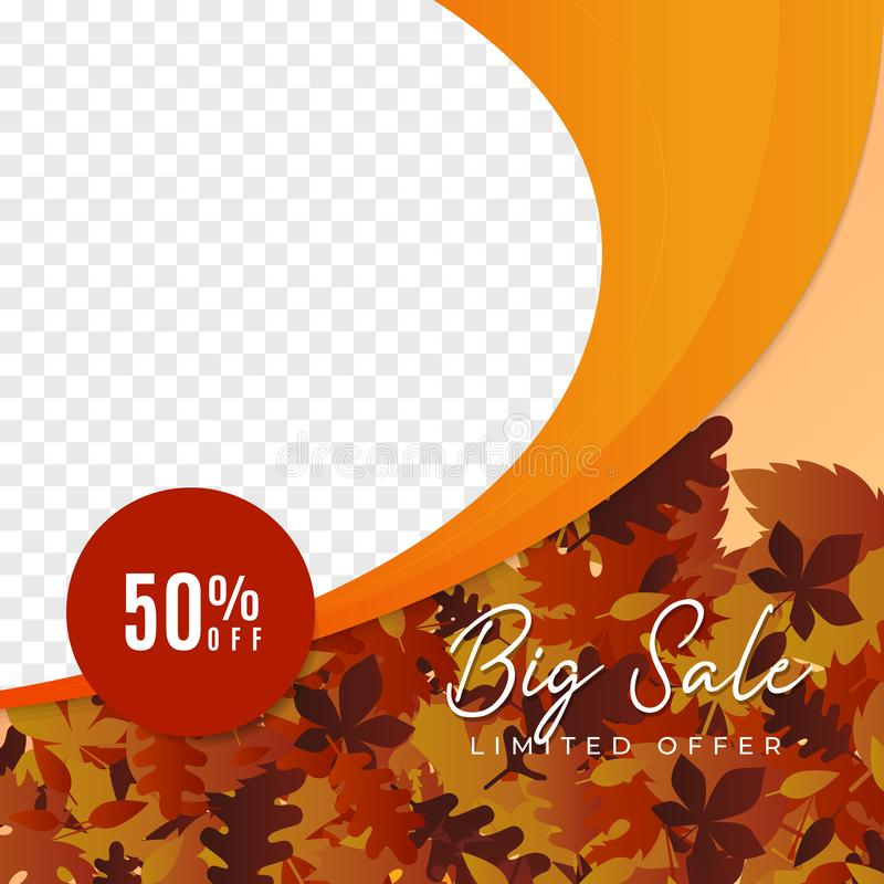Fall season big sale social media promotion poster vector template. banner design with autumn leaves illustration background and. Transparent box space for stock illustration