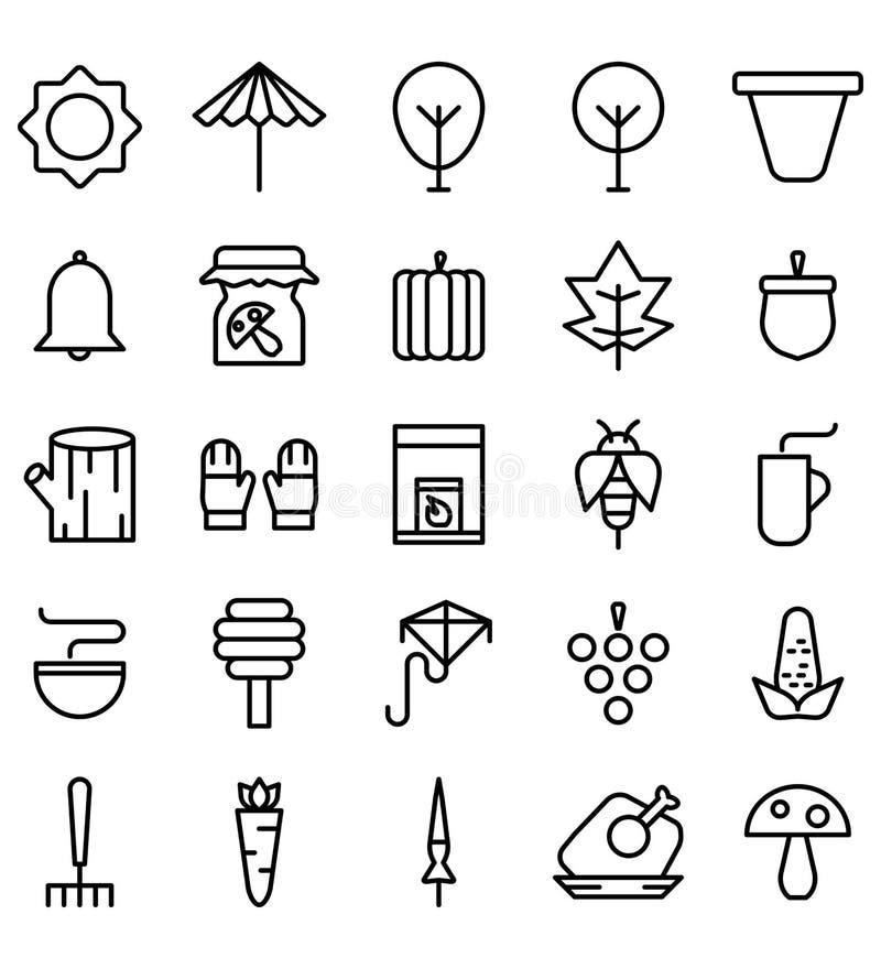 Fall Season Black Icon Logo Vector or Illustration. Editable Stroke and color vector illustration