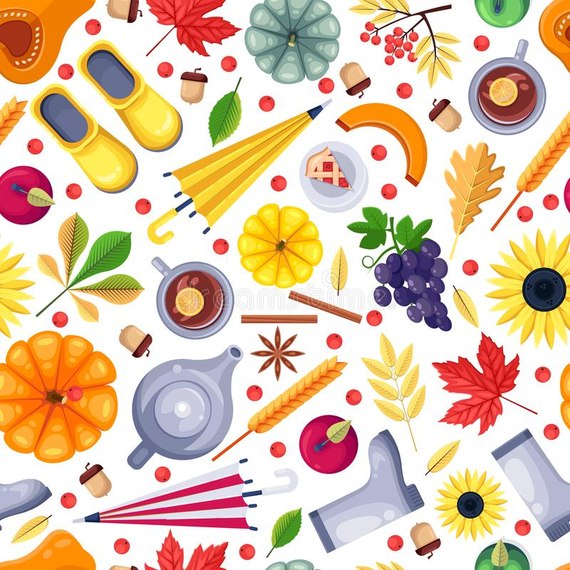 Fall season colorful white seamless pattern. Vector flat illustration. Autumn harvest, leaves, food and accessories. stock illustration