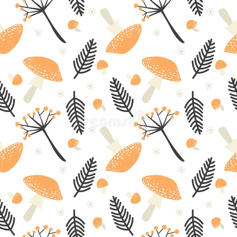 Fall season at forest in the form of vector repeatable decoration on white background. Autumn seamless pattern with orange stock illustration
