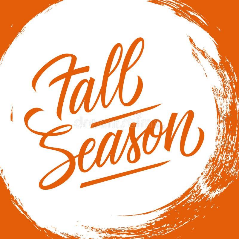 Fall Season handwritten lettering text design on circle brush stroke background. Vector illustration stock illustration