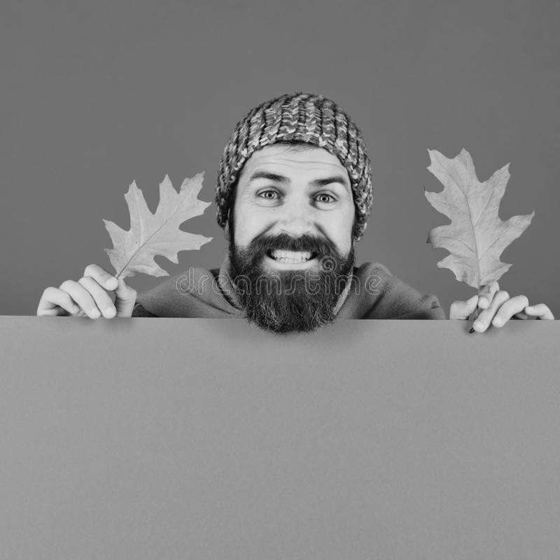 Fall season and hipster style. Guy with cheerful face royalty free stock images