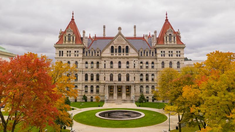 Fall Season New York Statehouse Capitol Building in Albany. Its a crisp cold day in Albany New York downtown at the statehouse in the aerial view stock images