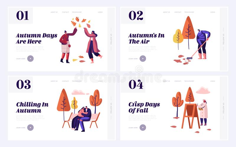 Fall Season Park Zone with People Website Landing Page Set. Large Public Garden in Autumn, Happy Citizen Enjoy Open Air royalty free illustration
