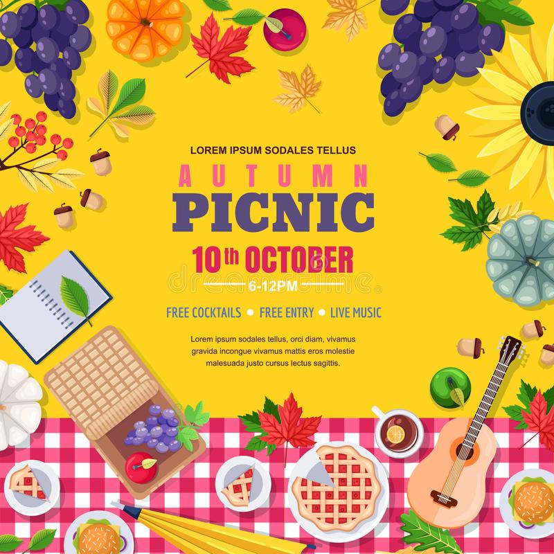 Fall season picnic square frame. Vector poster or banner with autumn leaves, food. Thanksgiving holiday illustration. stock illustration
