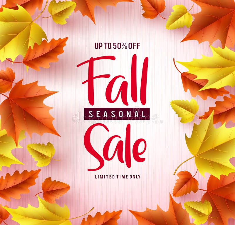 Fall season sale vector banner background. Fall seasonal sale text with colorful maple and oak leaves stock illustration