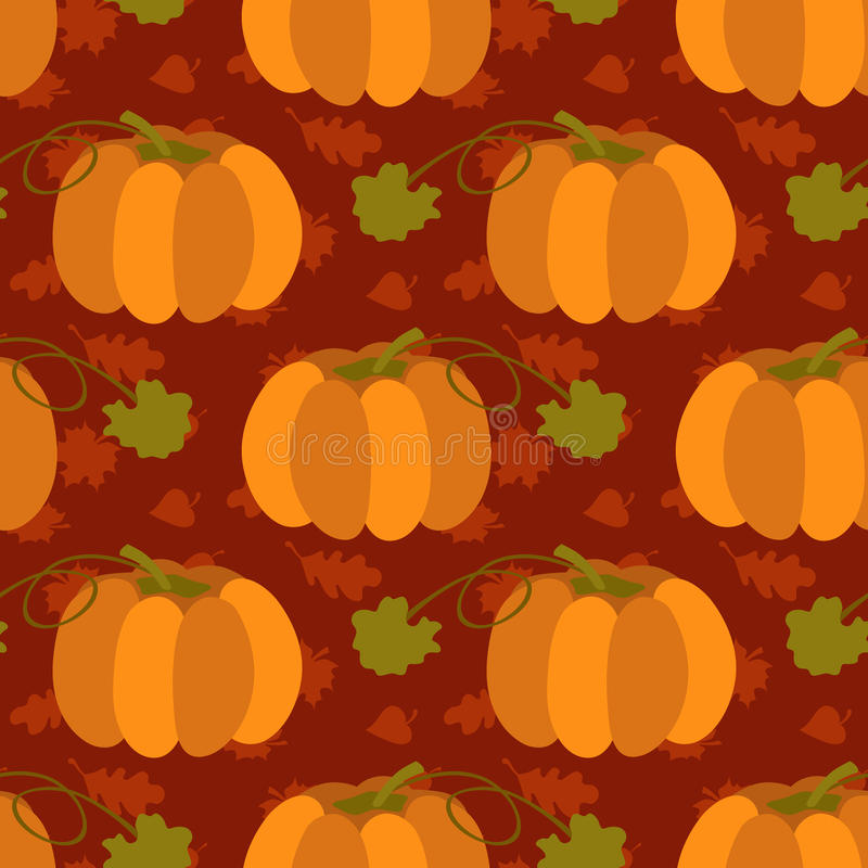Fall season seamless pattern with leafs and pumpkins on brown background vector illustration. Thanksgiving day concept. Fall season seamless pattern with leafs vector illustration