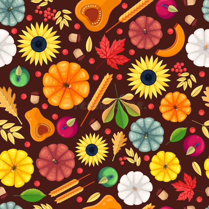 Fall season seamless pattern. Vector flat illustration. Autumn pumpkin harvest and colorful leaves. Background or textile print design stock illustration