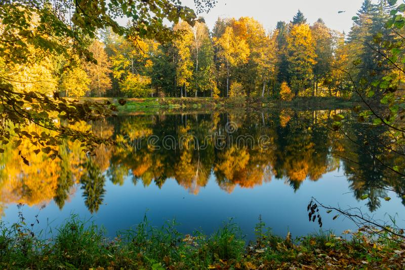 Fall season start idyllic lake reflections of fall foliage. Colorful autumn foliage casts its reflection on the calm waters stock photography