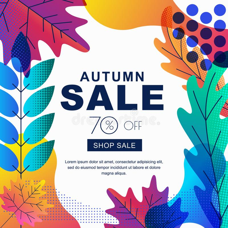 Fall seasonall sale vector square banner with color gradients leaves. Abstract autumn illustration background. Layout for poster, discount labels, flyers stock illustration
