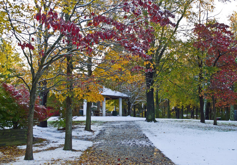 Fall Snow In Park stock photography