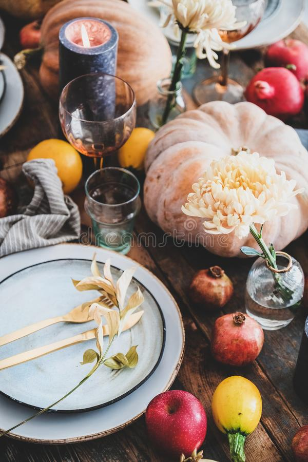 Fall table setting for Thanksgiving day party, close-up stock photos