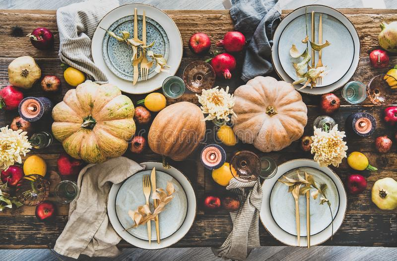 Table setting for Thanksgiving day party or family dinner royalty free stock photo