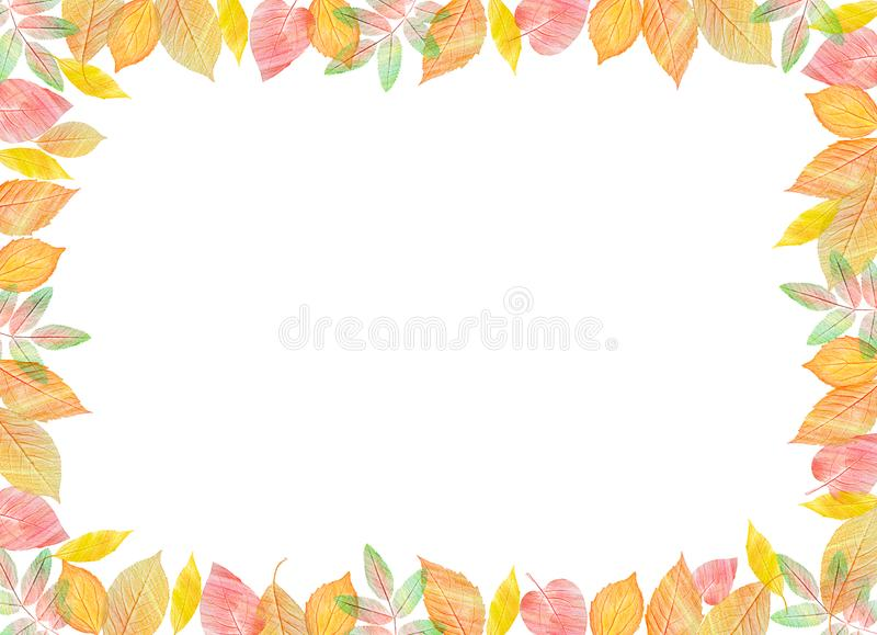 Fall template. Bright colourful autumn leaves on horizontal white background. You can place your text in the center stock illustration
