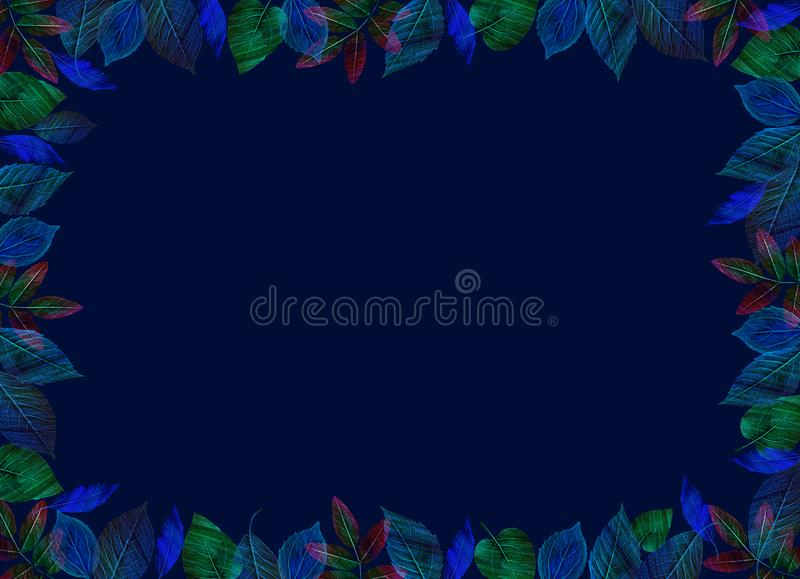 Creative Fall template. Bright green and blue leaves on horizontal dark blue background. Fall template. Bright colourful leaves on horizontal dark background royalty free illustration