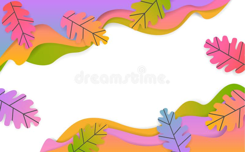 Fall thanksgiving seasonal wavy paper cut style banner with gradient colored oak leaves royalty free illustration