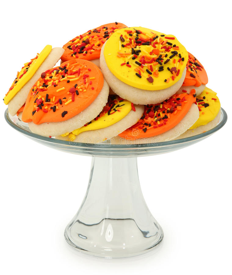 Fall Themed Sugar Cookies Stacked on Platter royalty free stock images