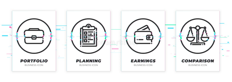 Fall uppgift, plånbok, våg Glitched svart symbolsuppsättning för affär tema Den Scalable vektorn anmärker på genomskinlig bakgrun royaltyfri illustrationer