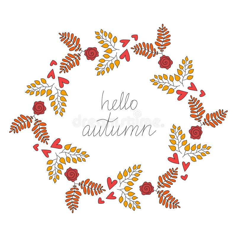Fall Vector Vintage Hello Autumn Wreath Illustration royalty free illustration