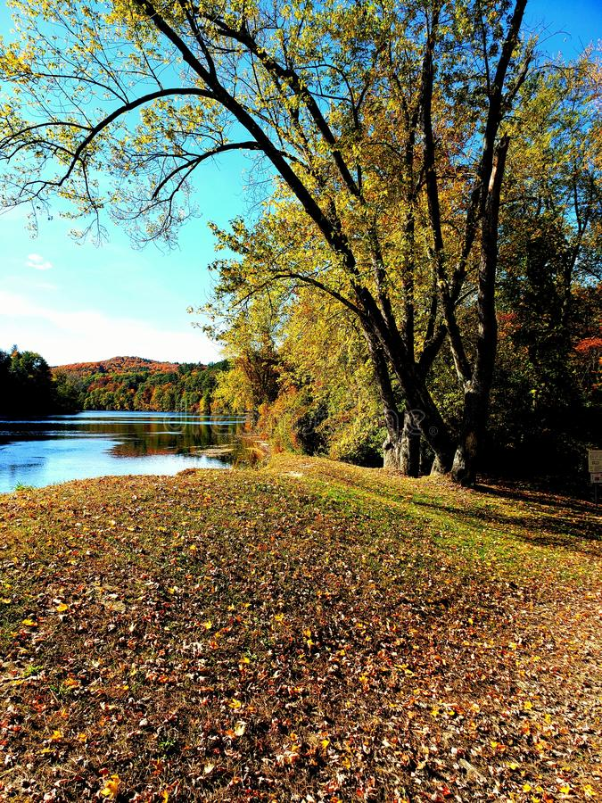 Fall in vermont on Connecticut river stock images