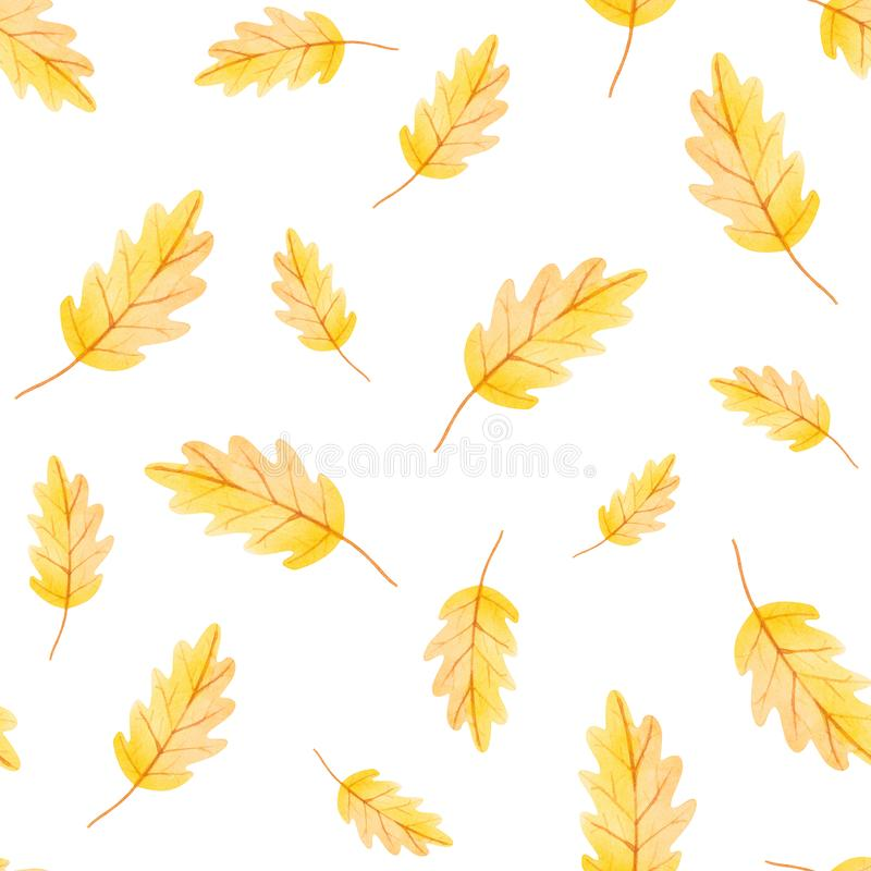 Fall vibes. Watercolor seamless pattern of yellow leaf for print. stock illustration
