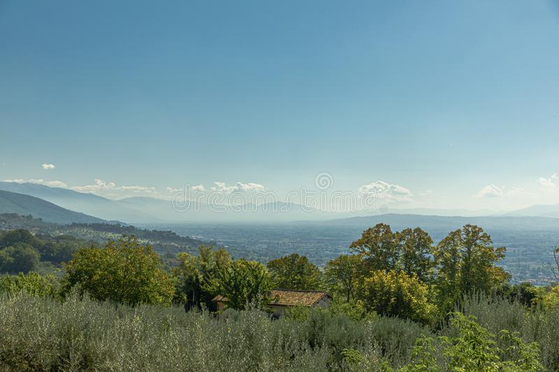 Fall view with the beautiful hills of Umbria near Assisi, Italy royalty free stock photos