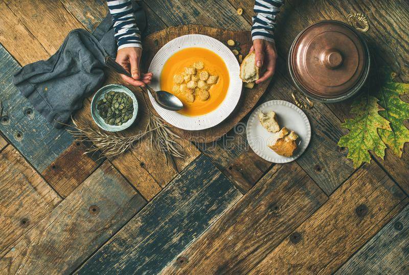 Fall warming pumpkin cream soup, copy space stock images