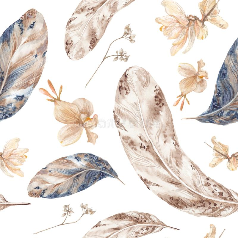 Fall Watercolor Pattern with Feathers vector illustration