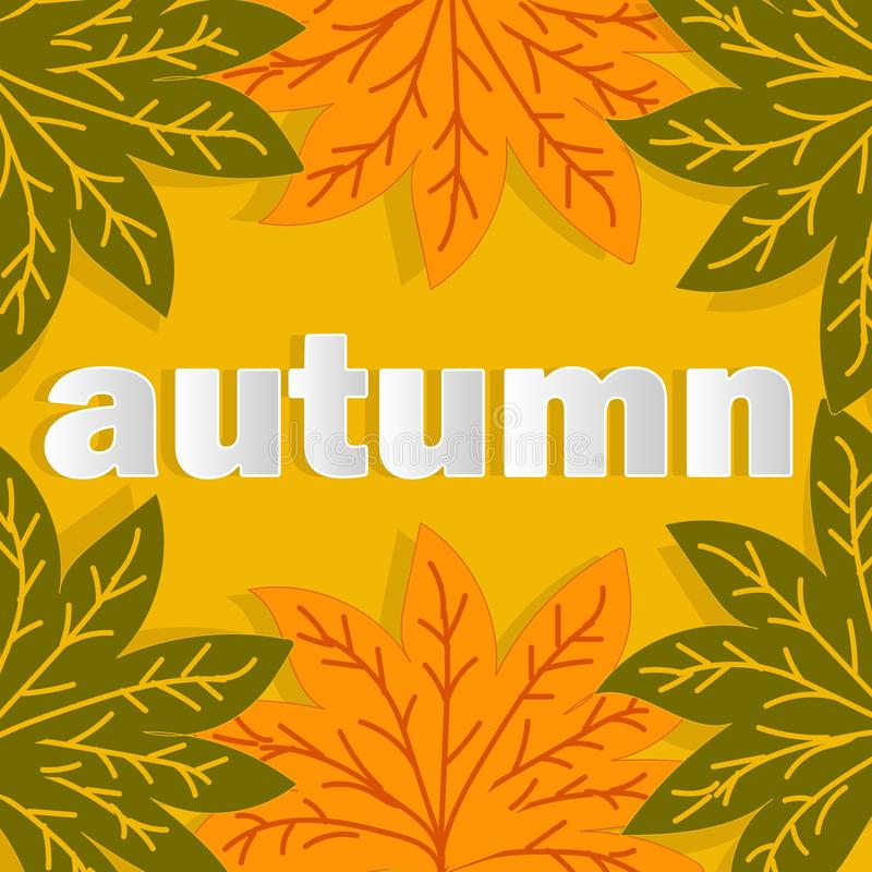 Fall for web advertising design. Autumn leaves fall background. Natural backdrop. Thanksgiving concept. Sign, symbol, element. Floral design element. Mid stock illustration