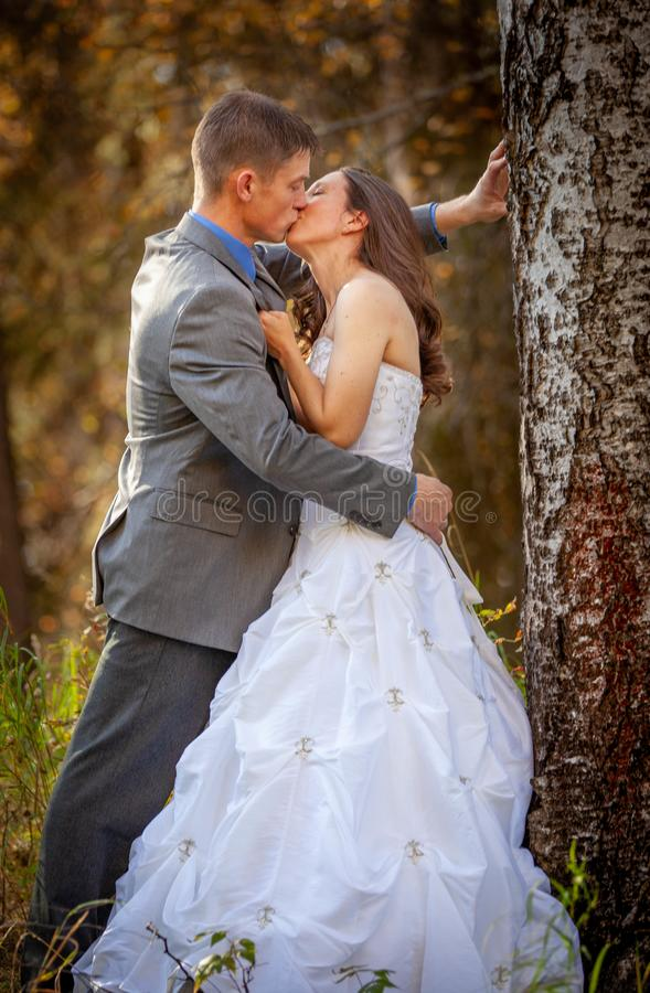 Bride and groom in outdoors during fall stock image