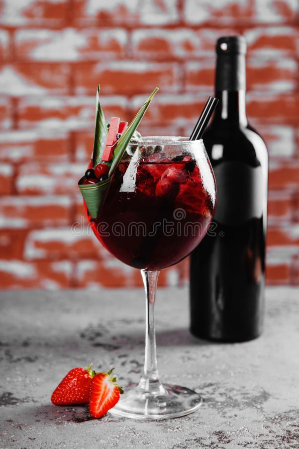 Fall and winter sangria with apples, oranges, strawberry. stock images
