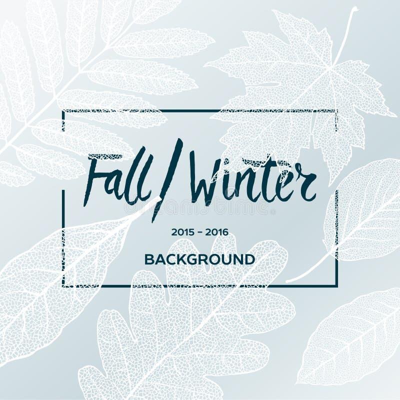 Fall-Winterschlussverkaufplakat mit Blatthintergrund stock abbildung